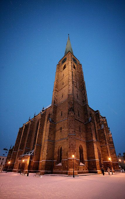 St.Bartolomeus cathedral in Plzeň (Pilsen) with 102 meters tall tower (West Bohemia), Czechia.