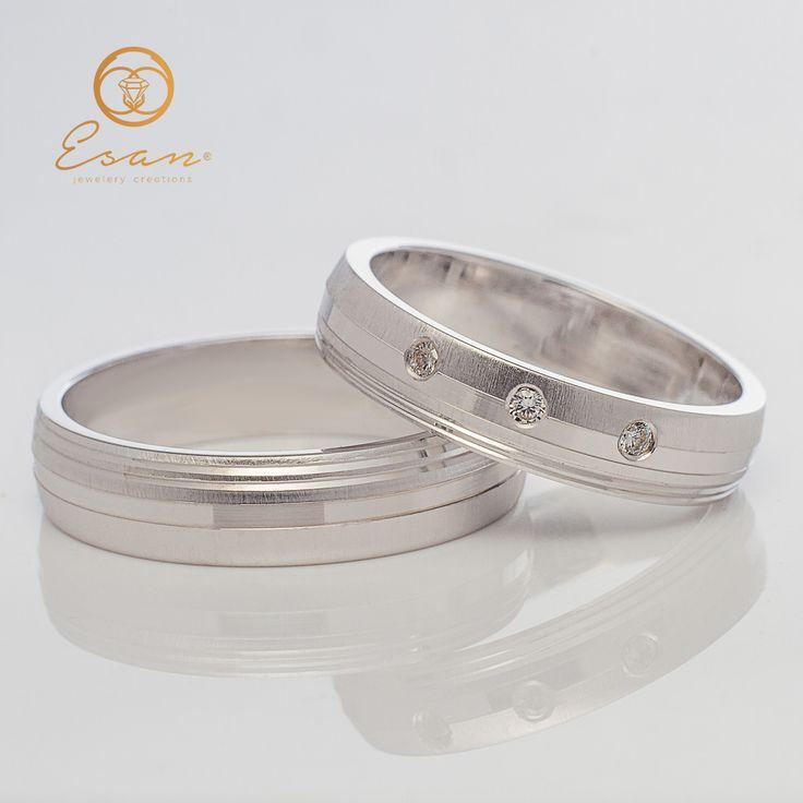 Verighete din aur alb cu diamante ESV41