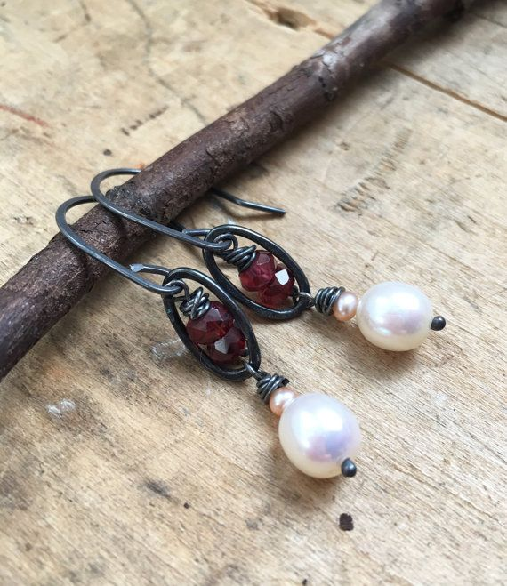 Hey, I found this really awesome Etsy listing at https://www.etsy.com/listing/268379524/rustic-garnet-and-pearl-earrings