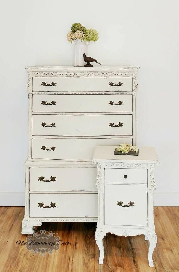 Sold Example Shabby Chic Chalk Painted Chest Of Drawers With Nightstand Set Bedroom Dresser Furniture Diy Furniture Bedroom Shabby Chic Chalk Paint Shabby Chic Room