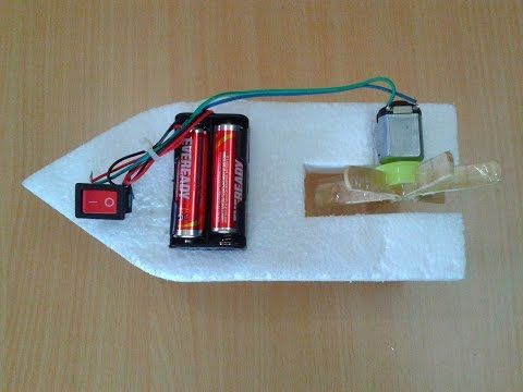 How to make a diy toy working boat using thermocol dc for Simple toy motor project
