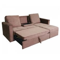 Saleen Microsuede Sectional Sofa Bed with Storage and Cupholders in Coffee - 2…