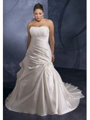 Satin Strapless Ruched Bodice A-line Wedding Dress