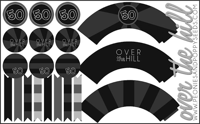 FREE Over the Hill Party Pack: cupcakes and toppers