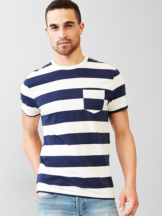 Marled stripe pocket t-shirt