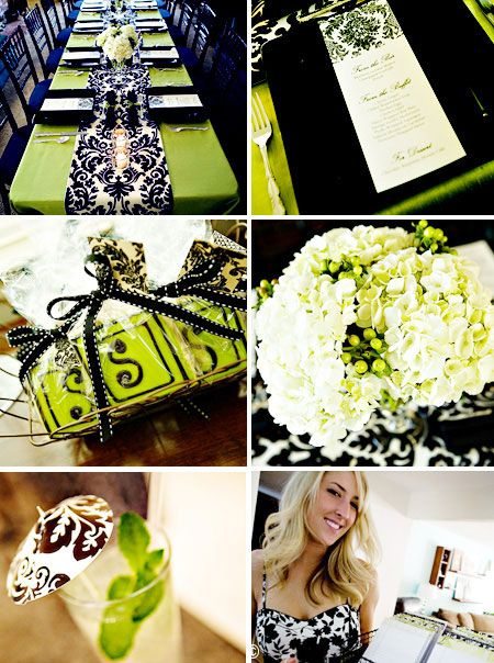 Black Damask Party Supplies with Green - Bridal Shower Party