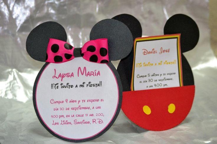 MinnieMouse & Mickey invitaciones para cumple u otra ...