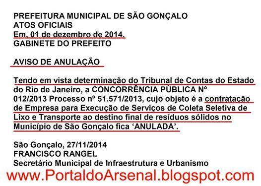Licitação que escolheu empresa ( Marquise SA ) para recolhimento de lixo em São Gonçalo é anulada pelo TCE- Tribunal de Contas do Estado