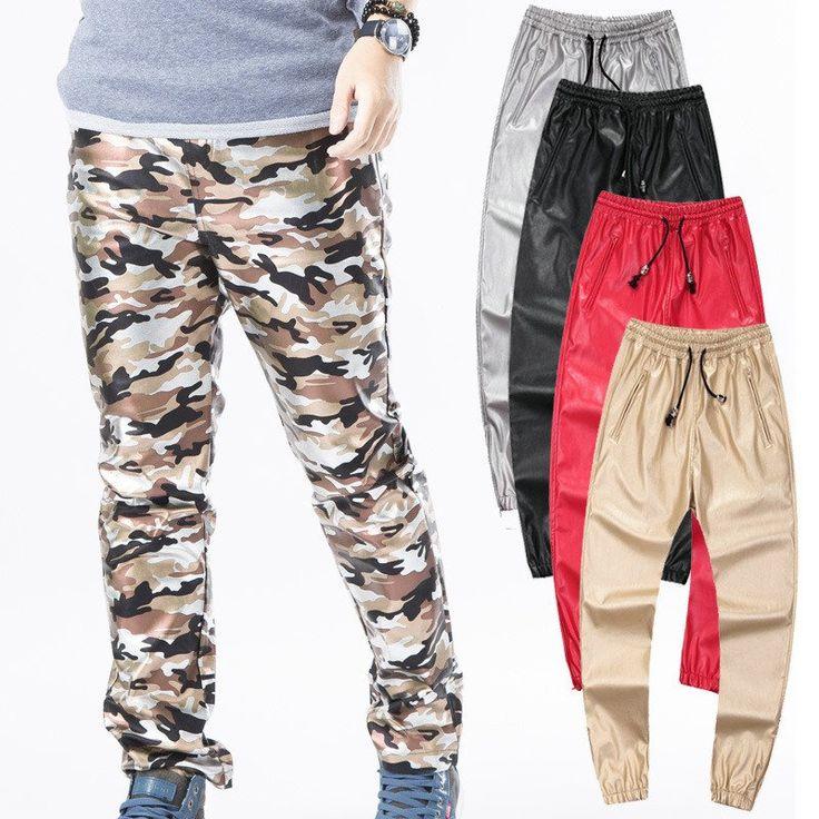 Fashion Faux Leather Pants Mens Joggers Street  Hip Pop Camo Pants#Fashion #FashionWeek #FashionOnline #DeathOrDesigner #Dresses #Accessories #Jewelry