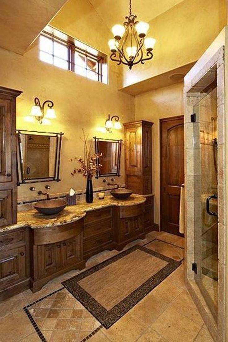 Charming Bathroom , Inviting Tuscan Bathroom Design : Tuscan Bathroom Design With  Small Chandelier And Yellow Walls