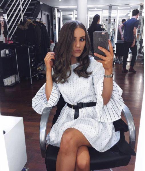 • White Stripe flared Sleeve Skater Dress •