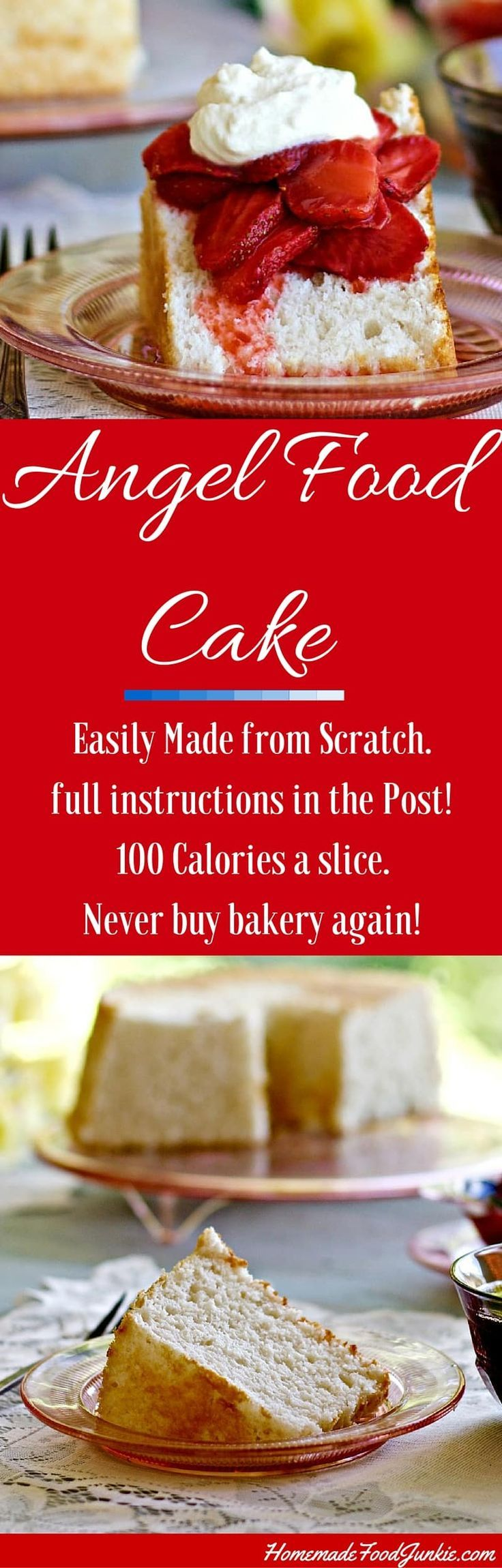 Angel Food Cake is Low-Fat and Dairy-Free! A tender moist cake that is delicious plain!