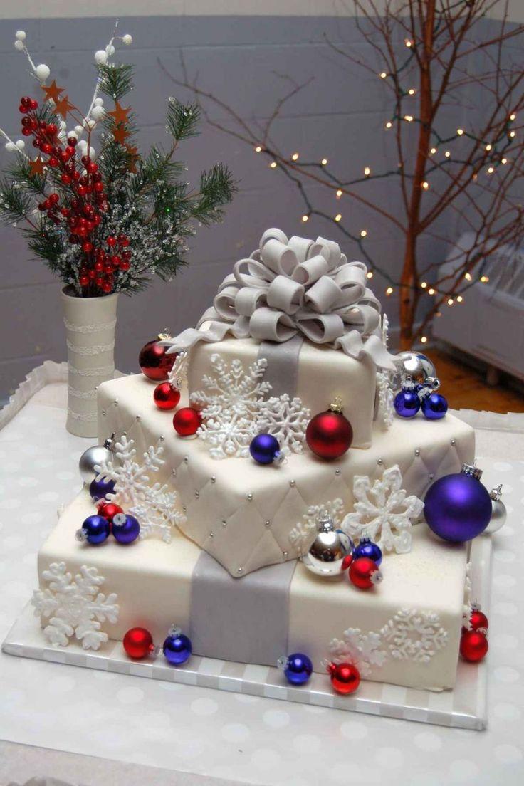beautiful Christmas wedding cakes   Christmas Wedding Cake — Square Wedding Cakes