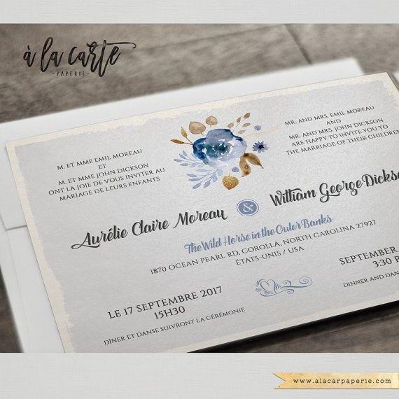 Destination wedding Floral bilingual wedding invitation Two