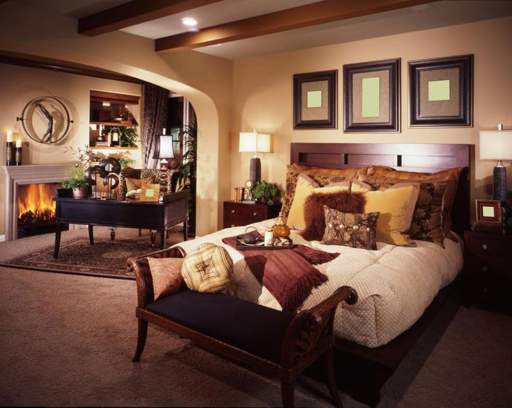 fascinating bedroom and living room in one space with brown pillow plus brown paint wall and rug covering floor fireplace beside table
