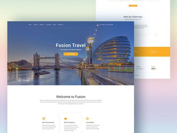 Fusion is a free PSD website template ideal for travel agencies needing a landing page for promotion. It is basically a one page made of sections that you're free to rearrange and customise at your own pleasure. Clean but professional at the same time, it's definitely worth a look!