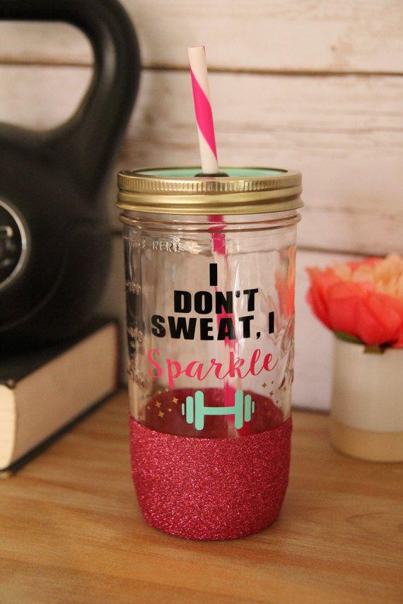 I Don't Sweat I Sparkle 24oz Glitter Dipped Mason by Sweetlylemon #gym #gymrat #waterbottle #masonjar #tumbler #sparkle #custom #tumbler #glitter #idontsweatisparkle #sweat #workhard #workout #exercise #health #fit #fitmom #weightlifting