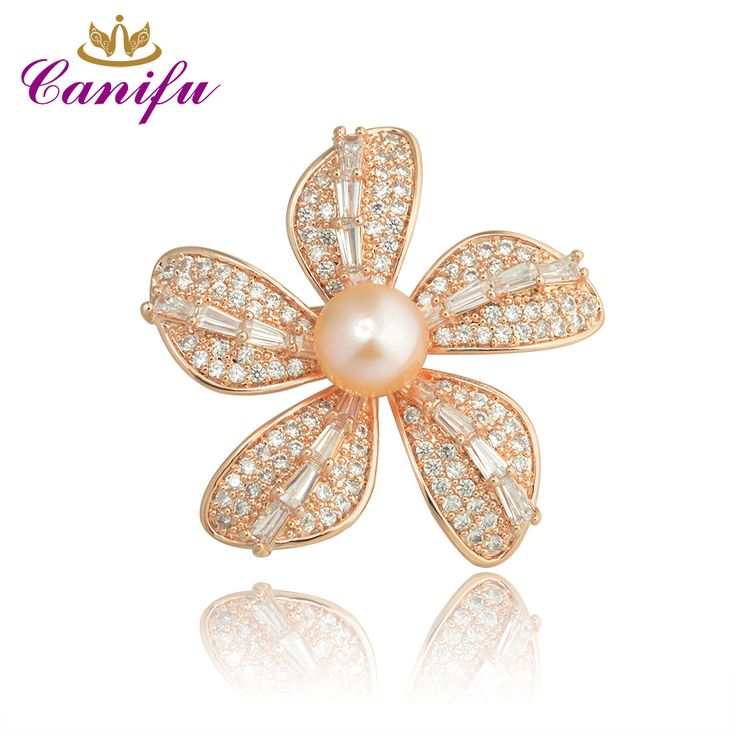 Canifu Fashion Full  Rhinestone Rose Gold Color Five leaf  Flowers  shape Luxury Pearl wedding brooches pin gifts for women //Price: $27.84 & FREE Shipping //     #hashtag3
