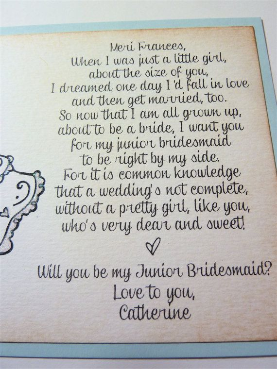 Will you be my Junior Bridesmaid Invitation by ifiwerecards