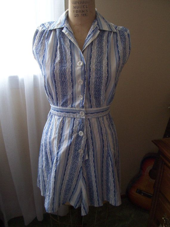 911a8c75d133f Cute Blue and White 1940s 1950s Ladies Playsuit with Skirt combo 26