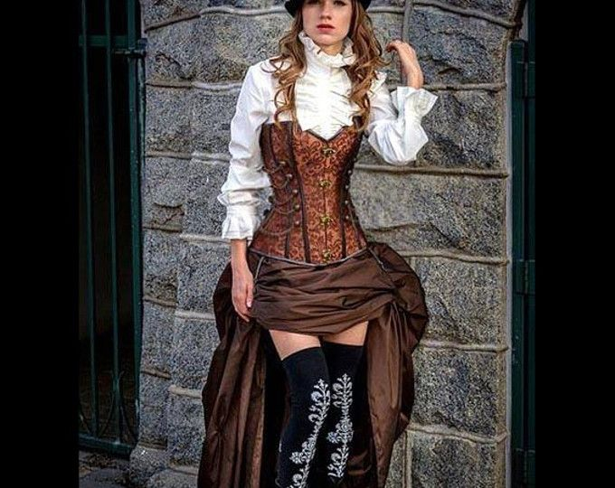 Bruine Steampunk korset w / BRUIN drukte rok Victoriaanse Cosplay kostuum jurk Goth