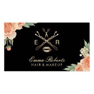 Makeup Artist Hair Stylist Vintage Floral Elegant Pack Of Standard Business Cards