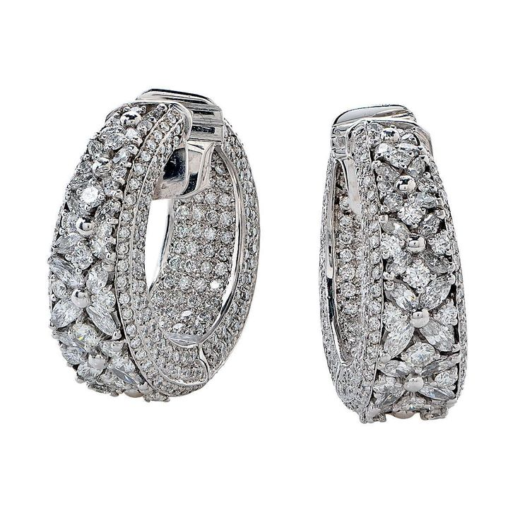 7.50 Carat Diamond Earrings | From a unique collection of vintage hoop earrings at https://www.1stdibs.com/jewelry/earrings/hoop-earrings/