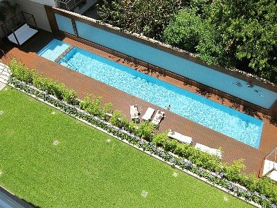 Palermo apartment rental - Amazing swimming pool with wooden deck solarium at the ground level.