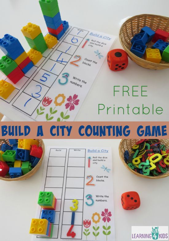 Build a City Counting and Subitising Game with FREE printable - children create a city-scape of tall buildings using blocks while learning to count!