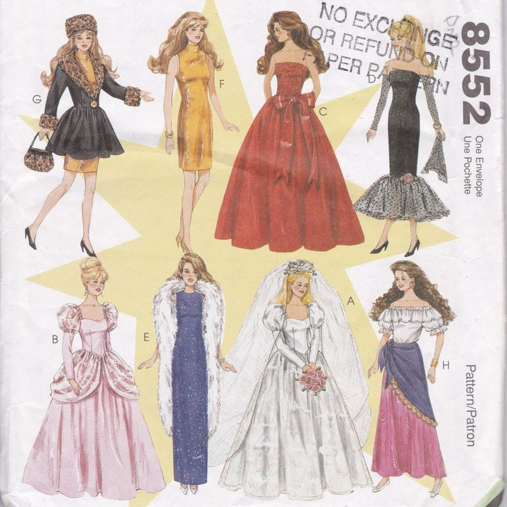 Barbie Doll Sewing Pattern Dolls Clothes Start Now for Christmas Gifts for Children McCalls 8552 by SuesUpcyclednVintage on Etsy