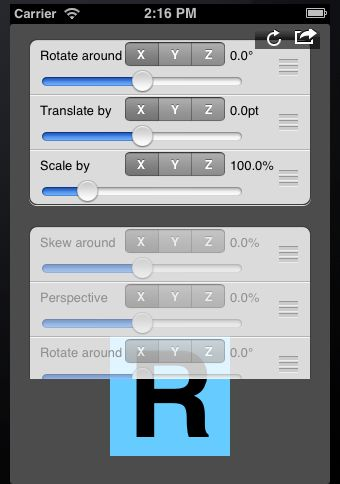 Generic Interactive 3D Transformation Tweaking Tool for iOS Development
