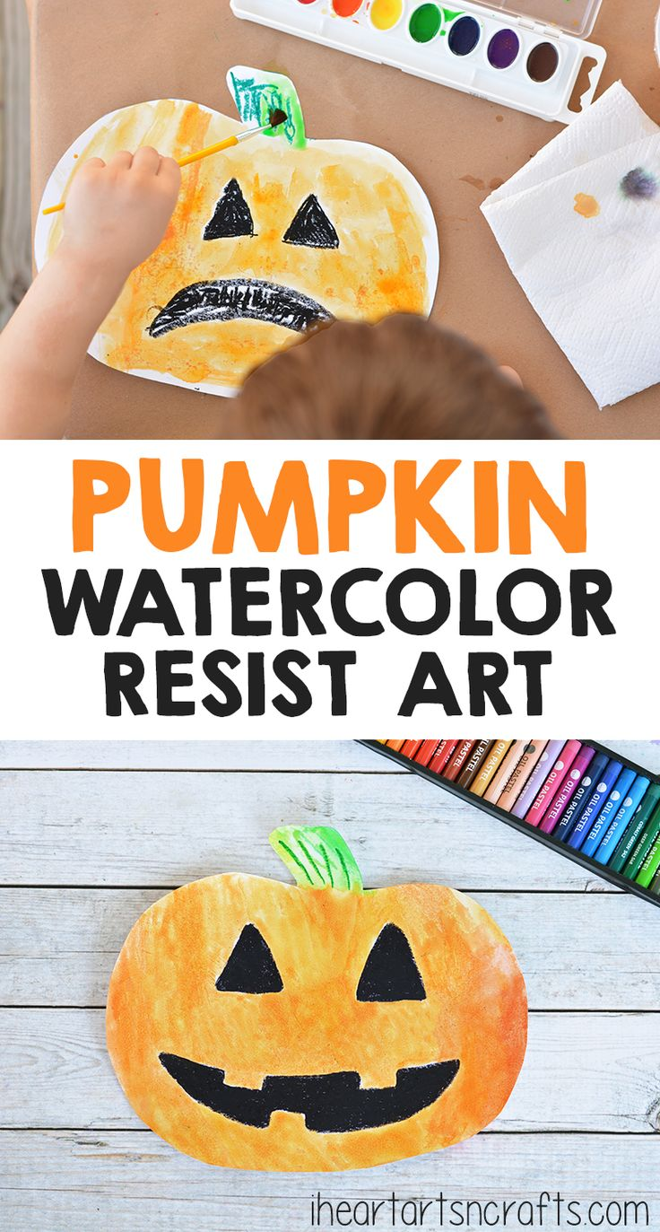 pumpkin watercolor resist art for kids - Halloween Art For Kindergarten