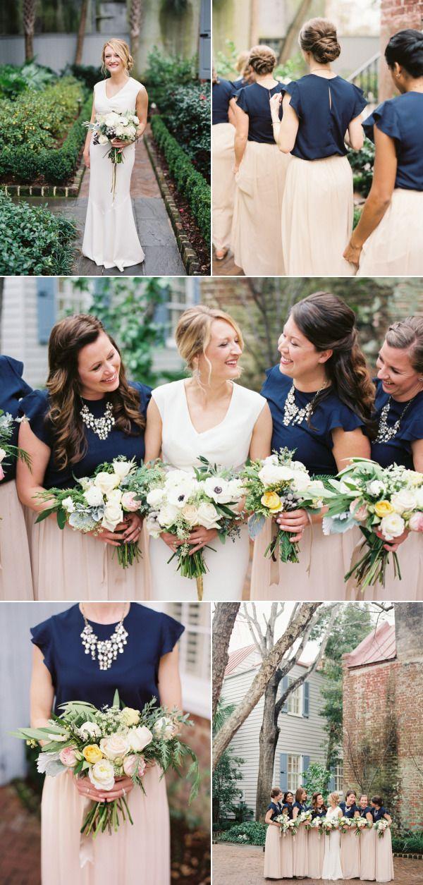 Elegant Navy + Blush Charleston Wedding - Style Me Pretty
