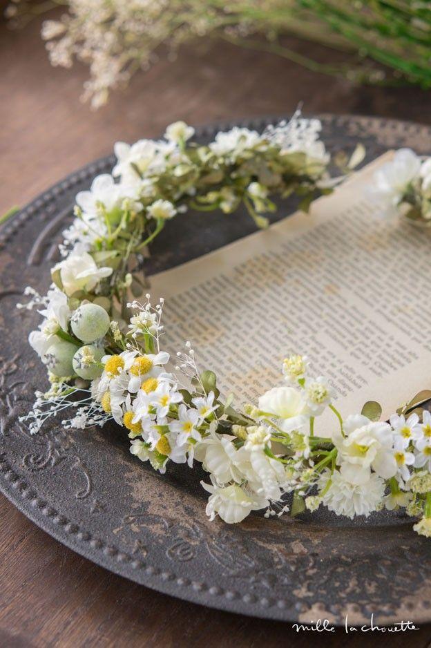 ホワイト×グリーン カモミール ナチュラル 花冠