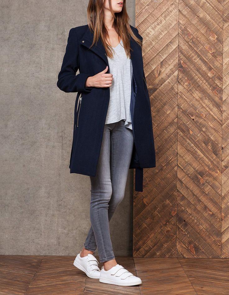 Manteau en drap de laine avec ceinture - MANTEAUX - FEMME | Stradivarius France