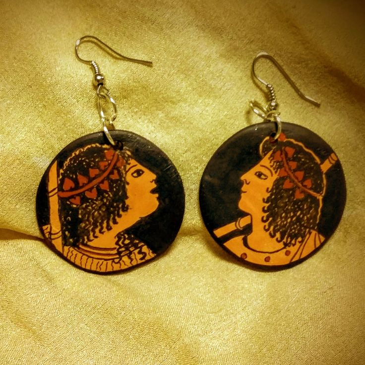 Bacchae earrings. Inspired by the vase of Kleophrades, ancient Greek pottery. Hand-painted. Terracotta. - pinned by pin4etsy.com