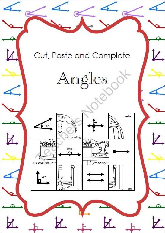 Cut, Paste and Complete - Angles from Imaginative Teacher on TeachersNotebook.com -  (15 pages)  - Students simply cut out the picture squares, then match the angle names on each picture to the space on the grid with the correct angle image.