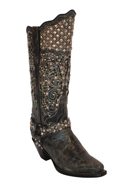 Womens Ferrini Black Charcoal Country Rebel Harness Stud Western Boots