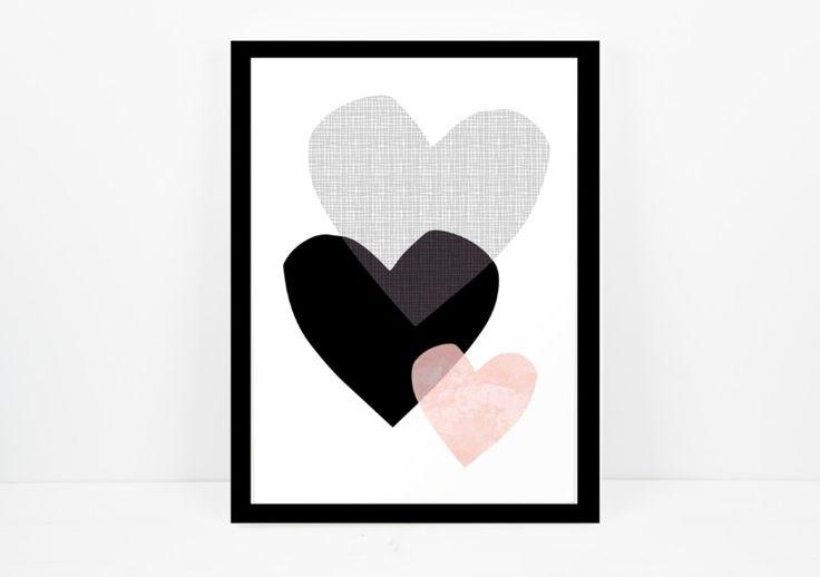 Artprint / 3 Herzen von Eulenschnitt auf DaWanda.com