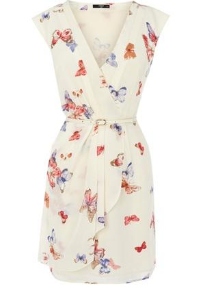 Butterfly Print Silk Dress