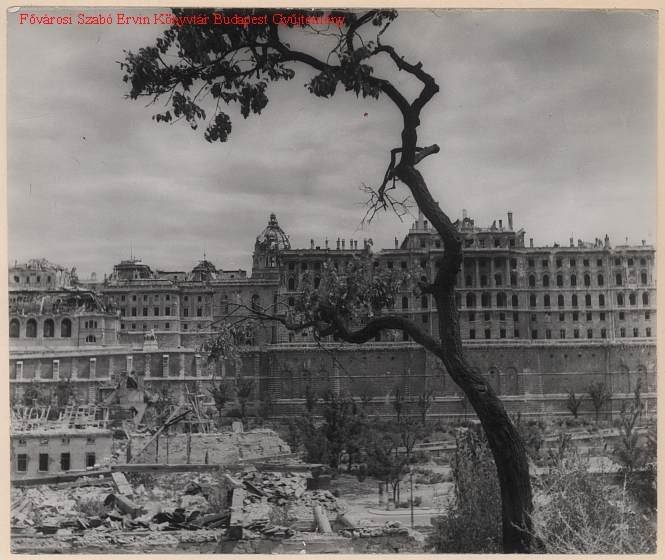 Budapest, 1950s. The Royal Palace in ruins.