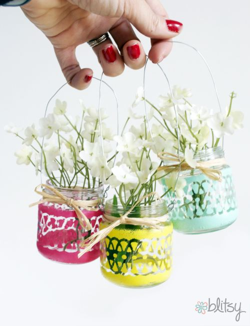 Blitsy Crafts: Painted Mini Hanging Lanterns/Vases