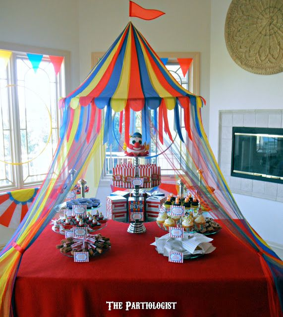 """""""Under The Big Top"""" birthday party table decor"""