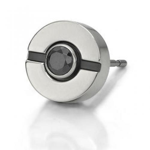 Black Crystal Single Earring Silver - One Size