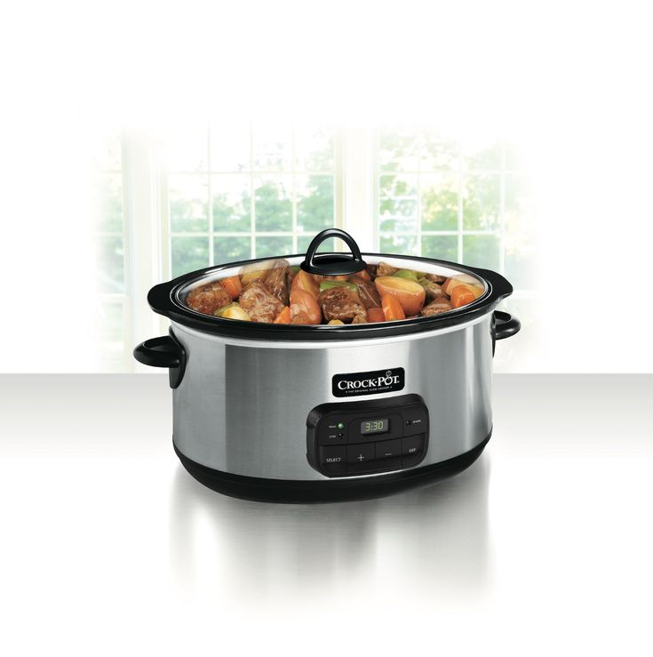 The Crock-Pot 8 qt Programmable Slow Cooker simplifies making a meal for 10 or more people. It features a digital timer that can be set for up to 20 hours, ideal for planning in advance. The sleek silver exterior of the programmable Crock-Pot has an extra-large removable oval-shaped stoneware insert that doubles as a serving dish. A digital touch pad allows for quick selection of high and low-temperature settings, adjusts the timer and makes for fast clean-up. Once the timer goes off, the…