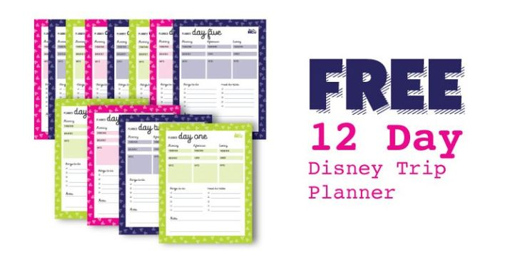 FREE 12 Day Disney Trip Planner. A MUST have to stay organized when planning out your next Disney Vacation.