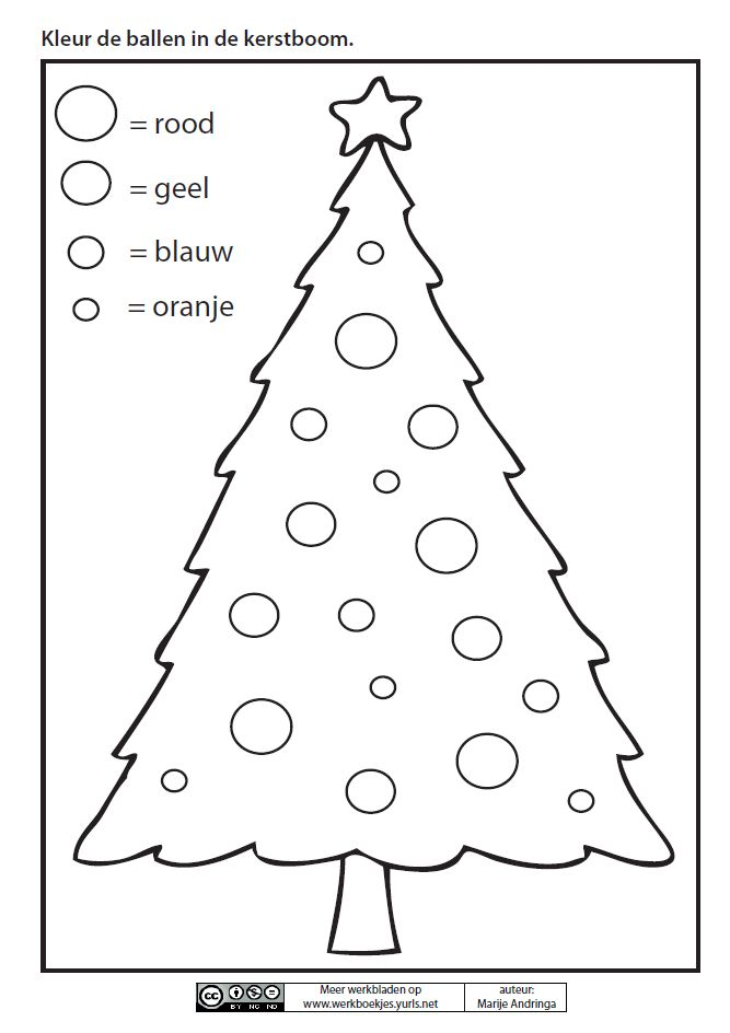 Kleur De Ballen In De Kerstboom Marije Andringa Noel Pinterest