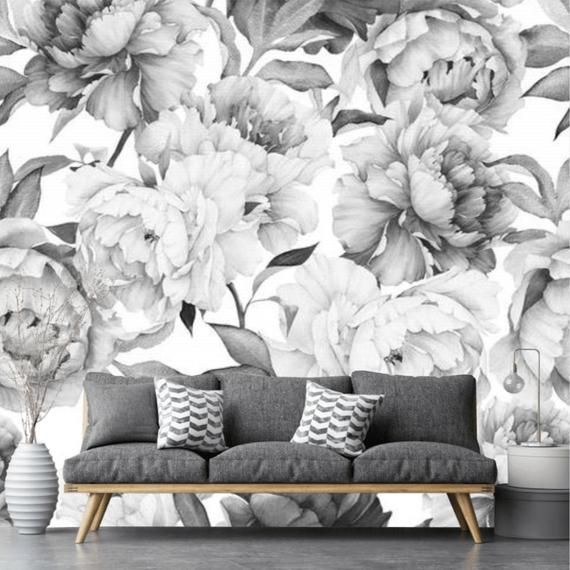 Peony Peel And Stick Floral Gray Wallpaper Peonies Wall Etsy In 2021 Grey Wallpaper Grey Wallpaper Accent Wall Grey Floral Wallpaper