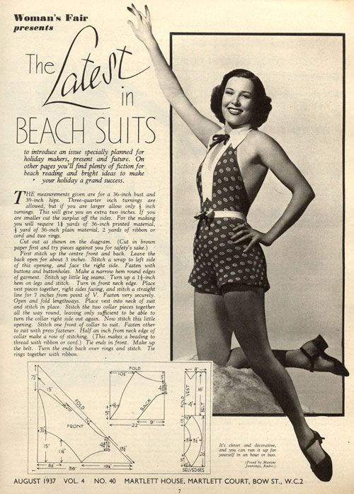 Vintage Chic: Beach Suit Pattern 1937