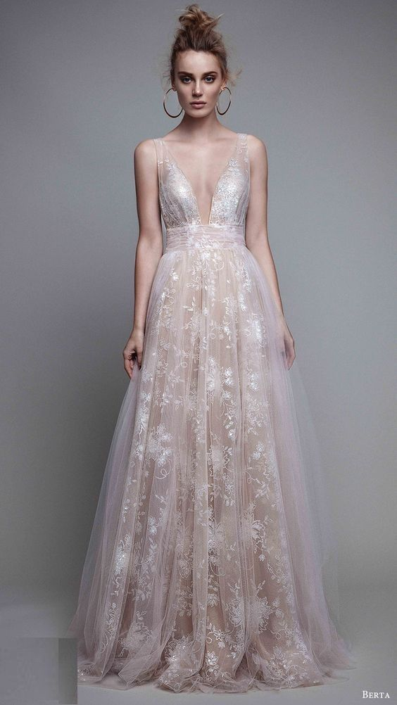 Berta A-Line Blush Evening Gown